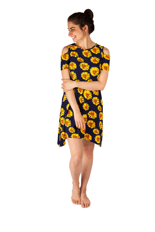 Sunflower Power Cold Shoulder Dress