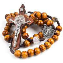 St Benedict Cord Rosary with 10mm Wooden Beads