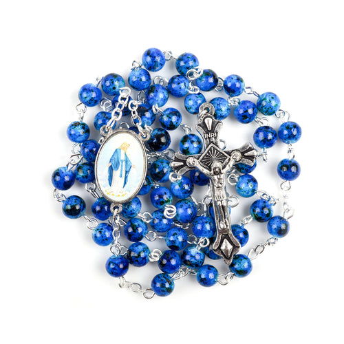 Our Lady of Grace Hand-Made Glass Bead Rosary