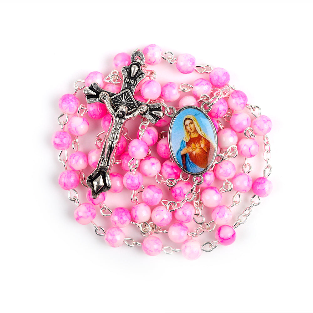 Pink Heart of Mary Hand-Made Glass Bead Rosary