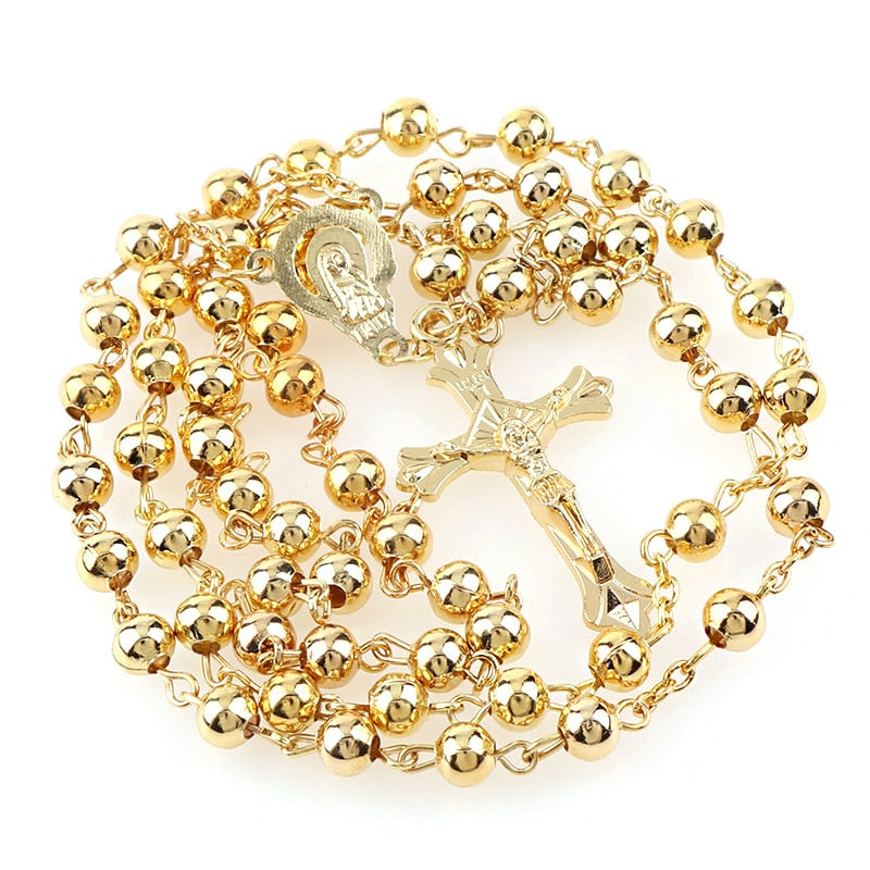 Golden or Sliver Plated Iron Bead Rosary with 6mm Beads