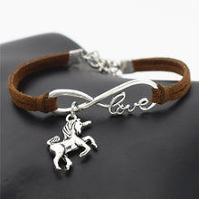 Vintage Leather Bracelet with Unicorn