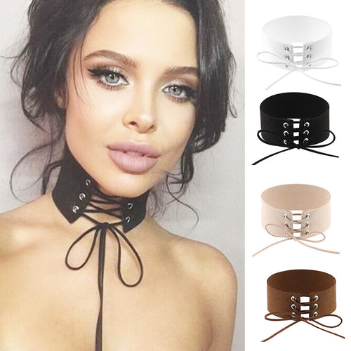 Gothic Lace-Up Choker