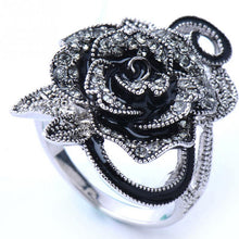 Gothic Black Rose Ring With Rhinestones