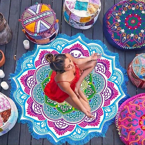 NEW Indian Mandala Round Yoga Blanket