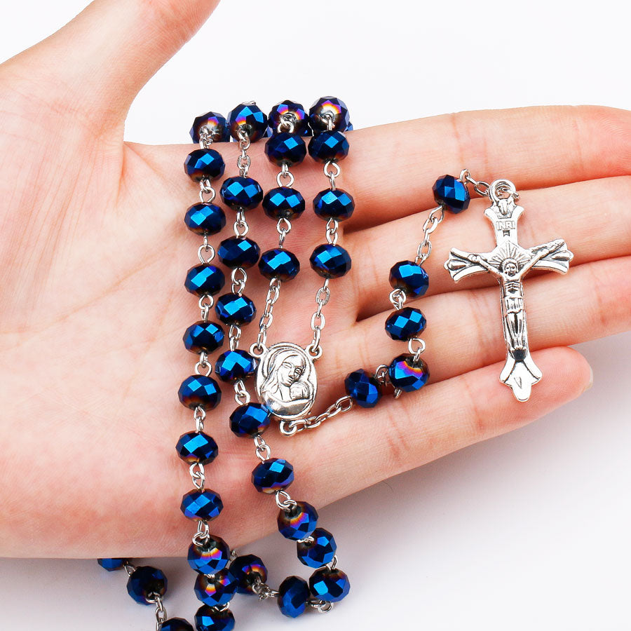 Deep Blue Holy Soil Medal Rosary
