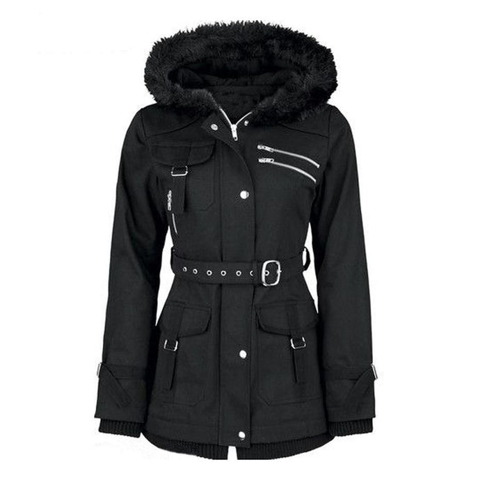 Black Goth Zipper Belt Coat