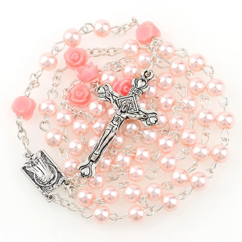 Glass Imitation Pearl Rosaries with Roses