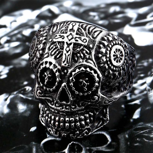 Gothic Stainless Steel Detailed Skull Ring