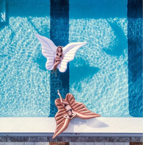 Giant Angel Wings Pool Float Gold