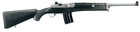ruger mini 14 rifle with synthetic black stock, right profile