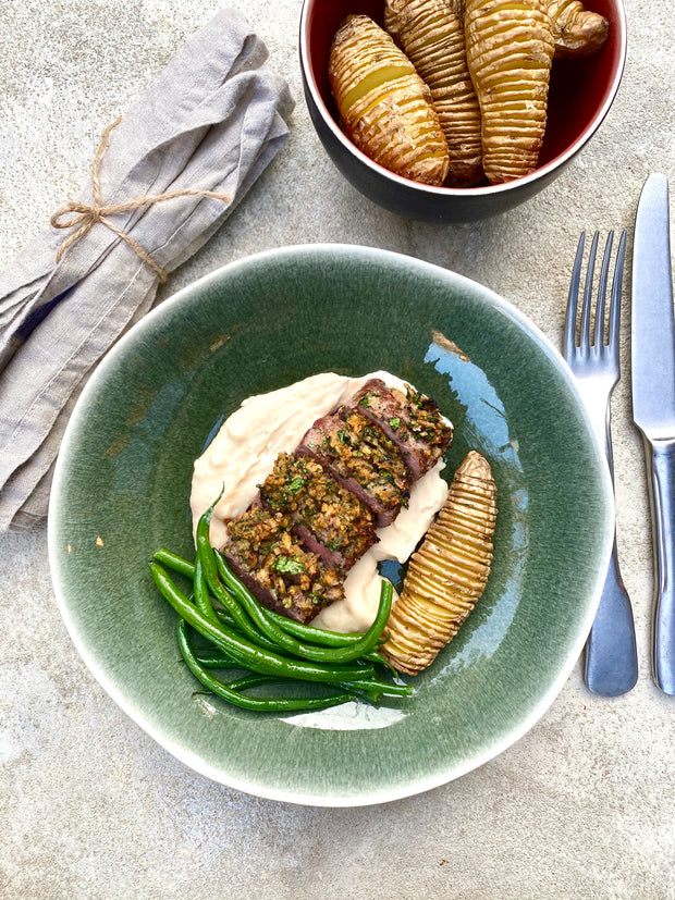 Herb-Crusted Cannons of Lamb with Butterbean Mash & Hasselback Potatoes