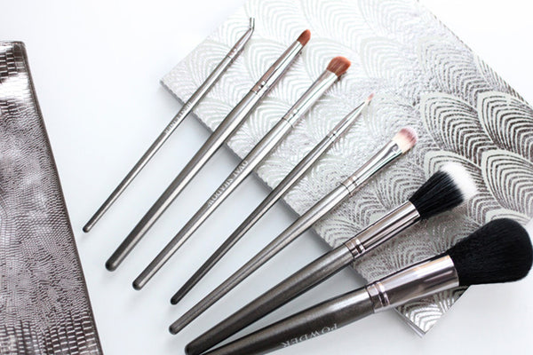 7 Piece Gun Metal Travel Brush Set