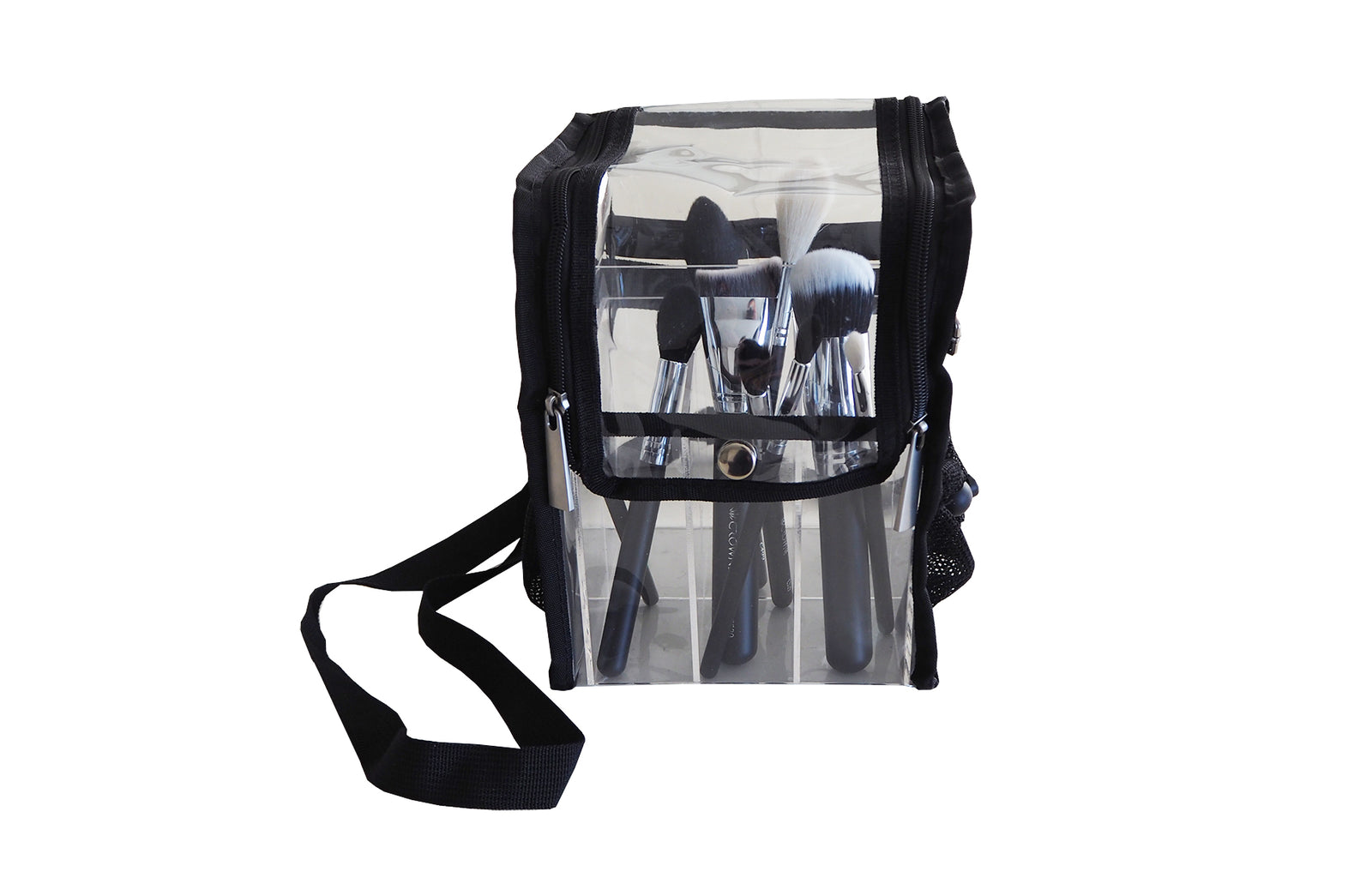 Clear Brush Organiser Bag with straps - Crownbrush