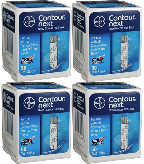 Bayer Contour Next Test Strips - 200 Count (4 Boxes of 50)