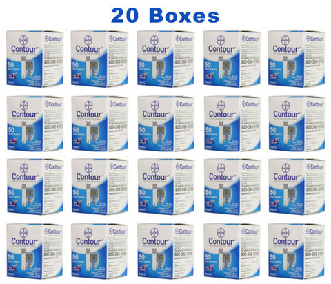 Bayer Contour Test Strips - 1,000 Count (20 Boxes of 50)