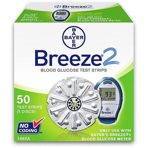 Bayer Breeze 2 Test Strips - 50 Count (1 Box of 50)