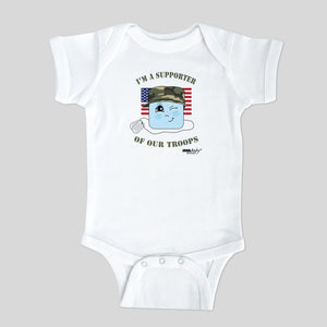 I'm a Supporter of Our Troops Bodysuit (boys) Size: 6 MONTHS