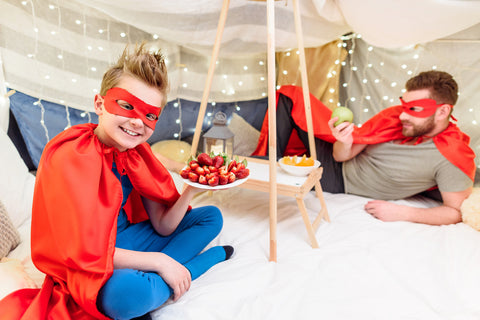 blanket fort and picnic food