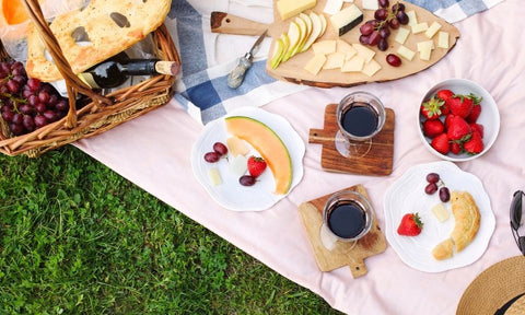 picnic food on a blanket