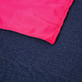 blue throw with waterproof backing in pink
