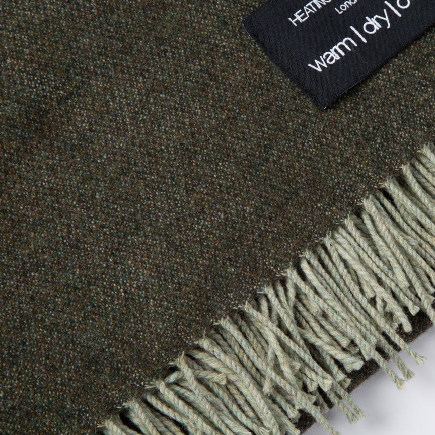 Daydreams - Merino Lambswool Throw - Grey & Green Reversible