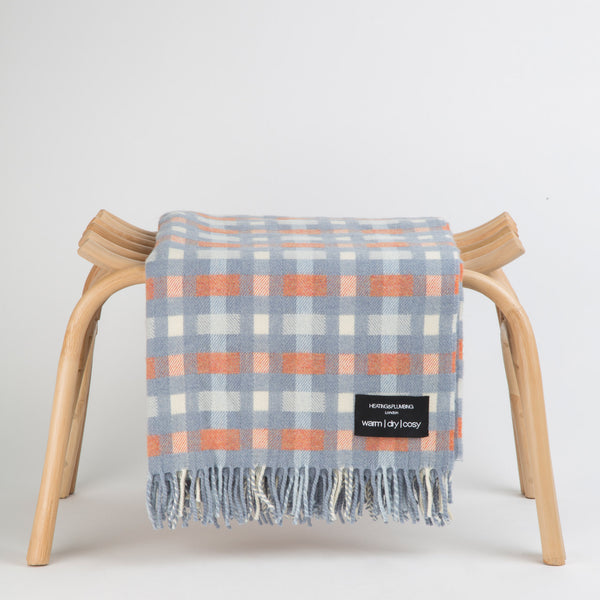 Wonderfully soft Merino Lambswool Throw - Blue with orange checks