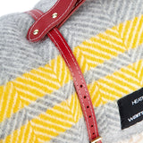 Pure new wool waterproof picnic blanket -  Grey & Yellow