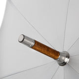 British Umbrella, Wood & Leather - Grey/Blue | Parapluie Anglais, Bois & Cuir - Gris/Bleu