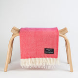 Daydreams - Merino Lambswool Throw -  White & Fuchsia