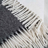 white fringe on alpaca throw for gardens