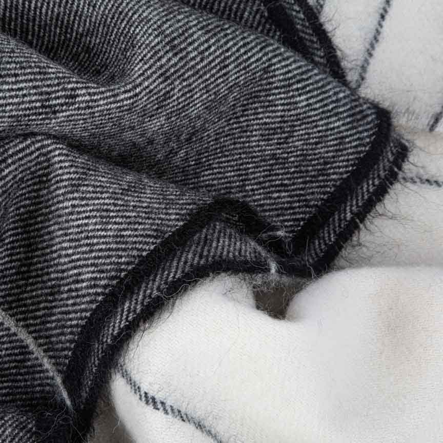 black and white alpaca throw for autumn and winter living
