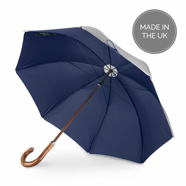 British Umbrella, Beech & Maple - Grey/Navy Blue | Parapluie Anglais, Hêtre & Erable - Gris/Marine