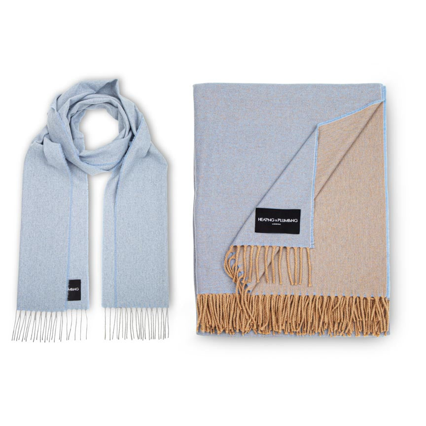 Love Stories - 100% Cashmere Scarf &  Blanket - Baby Blue