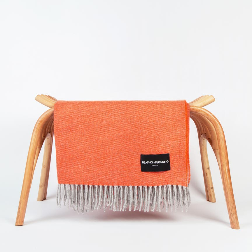 orange cashmere throw with grey fringe for home
