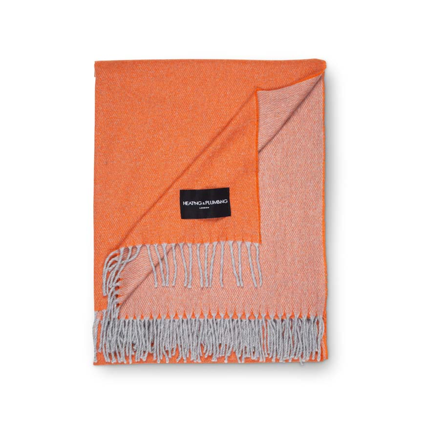 large orange 100% cashmere throw