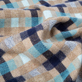 Daydreams - Merino Lambswool Throw - Dark Blue, Turquoise and Light Brown