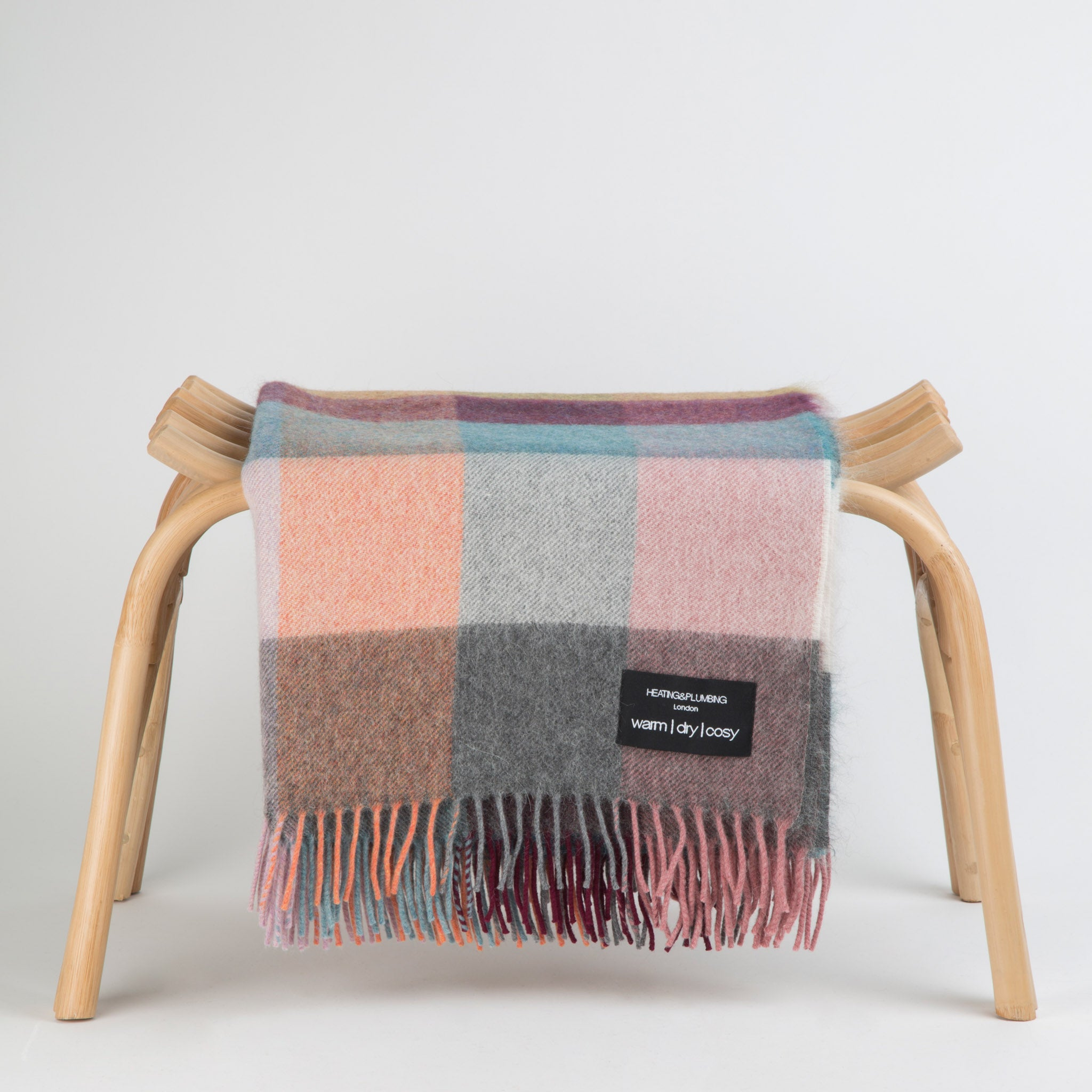multicoloured alpaca throw in pink and blue for home