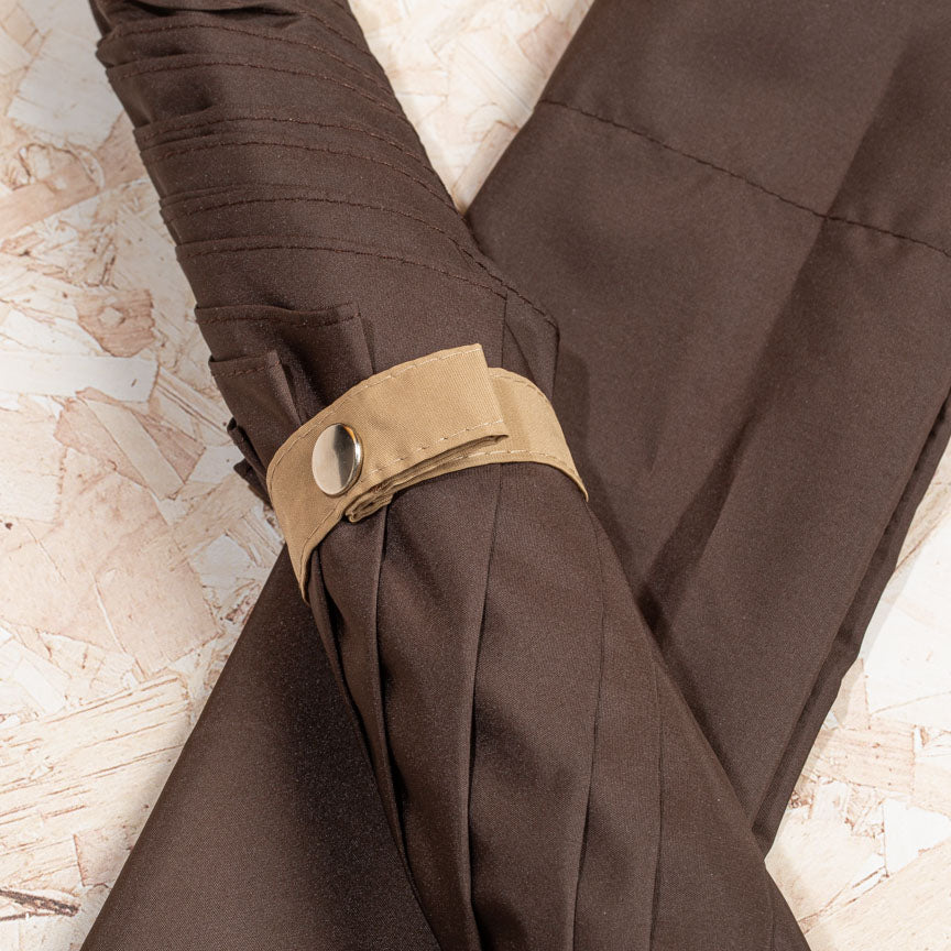 British Folding Umbrella  - Dark Brown/Sand | Parapluie Anglais Pliant - Marron/Sable