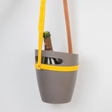 Grey champagne bucket with yellow hanging strap