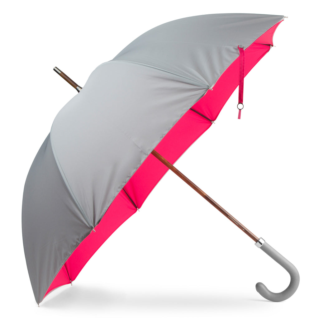 British Umbrella, Wood & Leather - Grey/Pink | Parapluie Anglais, Bois & Cuir - Gris/Rose