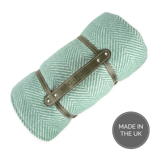 Pure new wool waterproof picnic blanket - Mint Green & Khaki