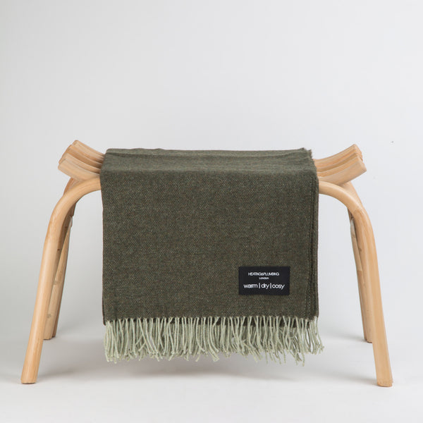 Wonderfully soft Merino Lambswool Throw - Grey & Green Reversible