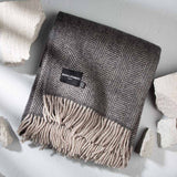 Luxury Soft Grey Herringbone Throw