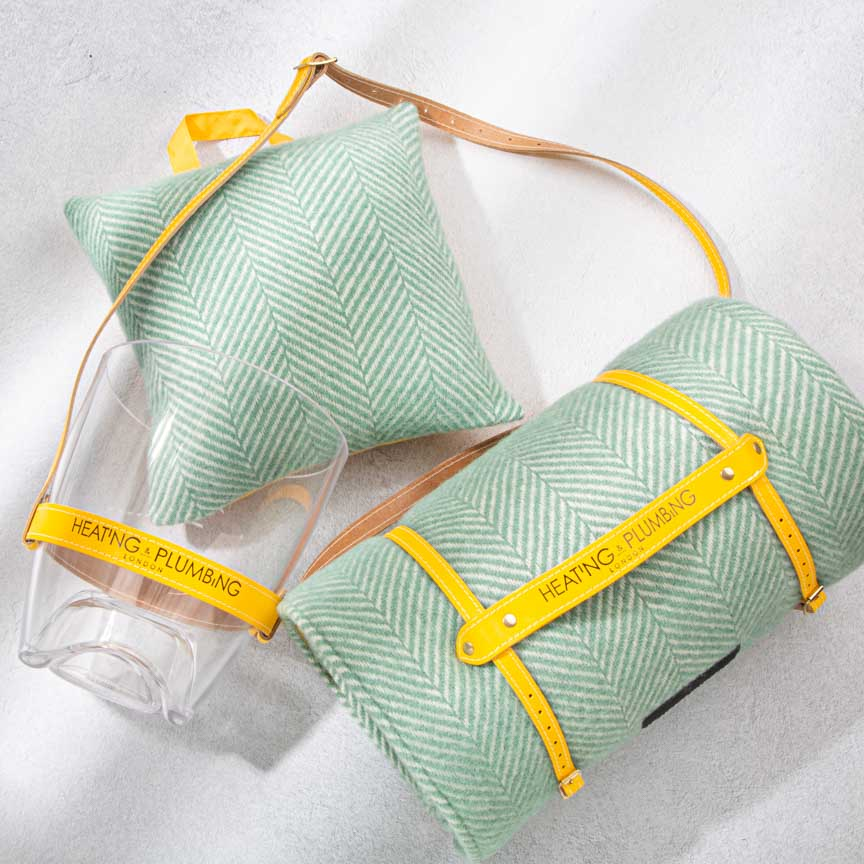 Waterproof Outdoor Cushion in Pure New Wool - Mint Green & Yellow