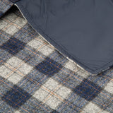 dark and light blue checked throw
