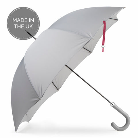 "British City Slim Umbrella- Grey & Burgundy | Parapluie Anglais "" City Slim"" - Gris & Bordeaux"