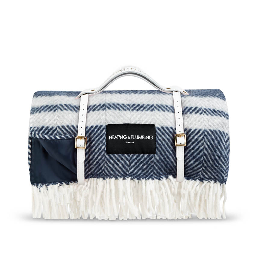 new wool blue picnic throw with waterproof backing