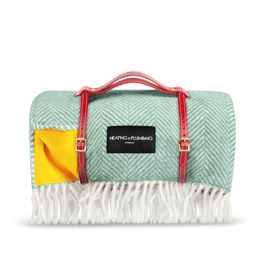 Pure new wool waterproof picnic blanket - Mint Green & Yellow