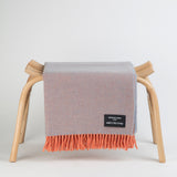 Wonderfully soft Merino Lambswool Throw - Orange & Grey Reversible